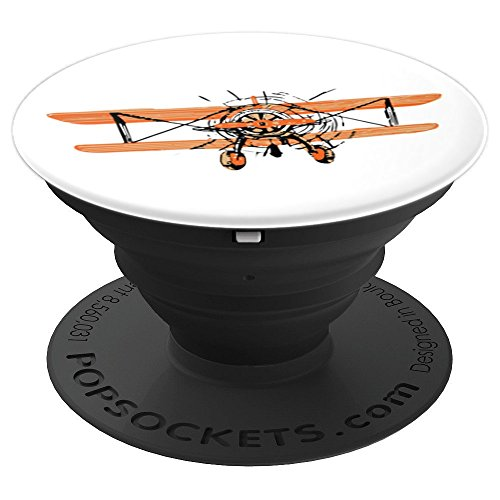 Vintage Biplane Pop Socket Flying Aircraft Gift for Pilots - PopSockets Grip and Stand for Phones and Tablets