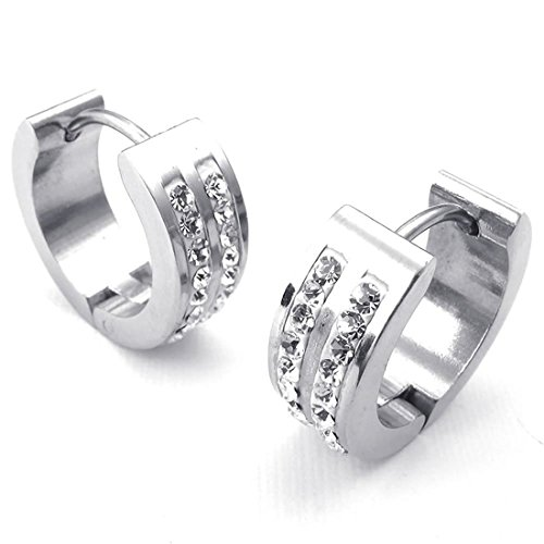 SODIAL(R)Jewelry Men's Women's Earrings, Hoop Earrings, Zirconia Diamond Stainless Steel, Silver by SODIAL(R) (Image #2)