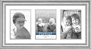 Timeless Frames 10x20 Inch Fits Three 5x7 Inch Photos Lauren Collage Frame, Silver