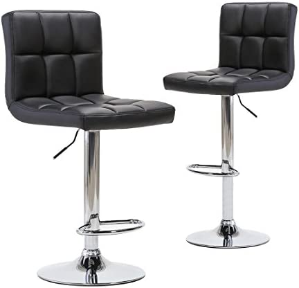 Chiming Adjustable Modern Swivel Bar Stools – Counter Height PU Leather Chair for Pub Kitchen Set of 2, Black