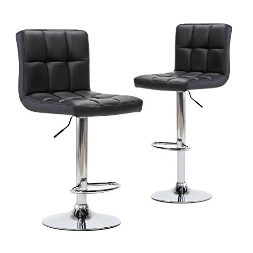 Adjustable Modern Swivel Bar Stools - Counter Height PU Leather Chair for Pub Kitchen by Chiming - ( Set of 2, Black ) (Chairs Breakfast)