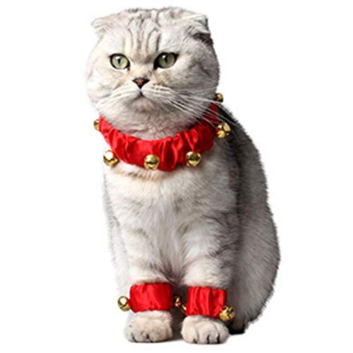 ANIAC Pet Christmas Elastic Santa Collar Foot Ring Leg Sleeve Cuffs with Bell for Cats and Small Dogs Red (Large) ()