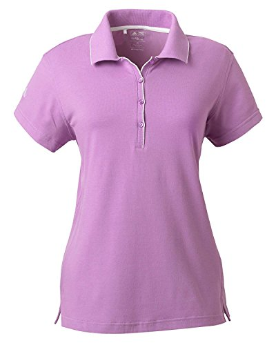 Climalite Jersey Polo Shirts (Adidas Women's ClimaLite Tour Jersey Short Sleeve Polo Shirt, VIOLA/WHITE, X-Large)