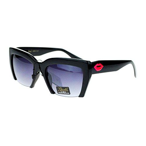 Giselle Womens Crop Exposed Lens Cat Eye Lip Print Runway Sunglasses - Garde Sunglasses Avant