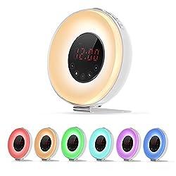 Wake Up Light,Sunrise Alarm Clock,Digital Simulation Sunset Alarm Clock Bedside Lamp With Nature Sounds, FM Radio,7 Colors Night Light,LED Mood Night & Smart Snooze Function,By E-Starlet