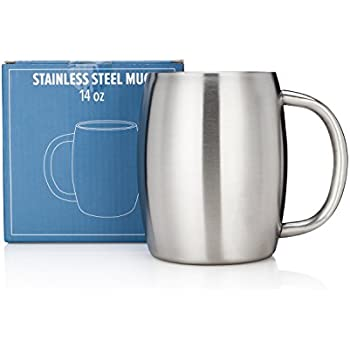 Stainless Steel Coffee Mug by Avito- 14 Oz Double Walled Insulated - BPA Free Healthy Choice - Shatterproof - Best Value