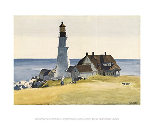 Lighthouse and Buildings, Portland Head, Cape Elizabeth, Maine, c.1927 Art Print Landscape Art Poster Print by Edward Hopper, - Cape Lighthouse Elizabeth