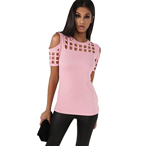 ZYooh 2017 Womens Fashion Strapless Hollow Out Short Sleeve Casual T-Shirt Tops sexy Off Shoulder Cute Irregular Blouse (pink, (Best Swimming Costume For Large Bust)