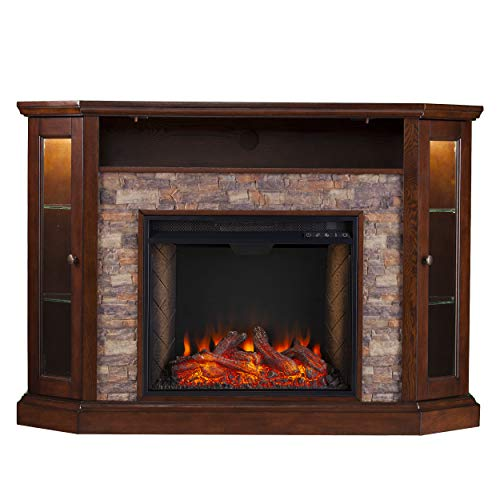 Southern Enterprises Redden Corner Convertible Alexa-Enabled Smart Fireplace with Storage, Espresso (Stands Fireplace Electric)