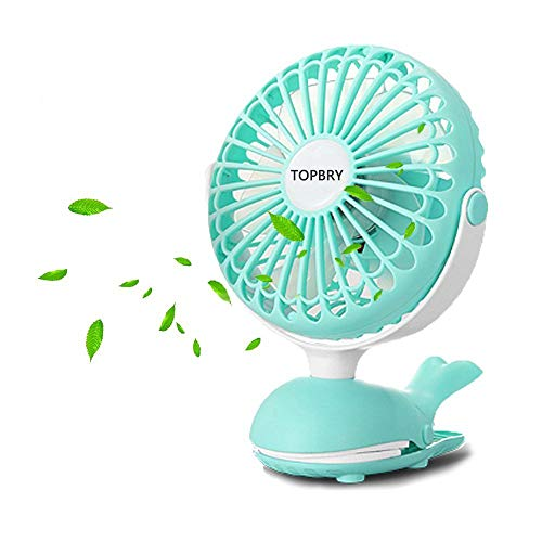 TOPBRY Baby Stroller Clip Fan, Portable Battery Powered Quiet Desk Fan with 5 Blades Cute Whale Design for Baby Stroller Office Travel (Green)