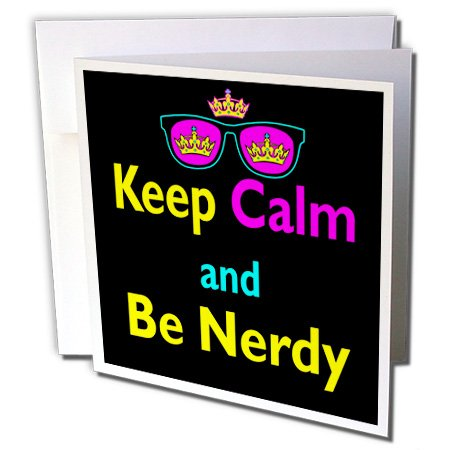 Dooni Designs CMYK Hipster Designs - CMYK Keep Calm Parody Hipster Crown And Sunglasses Keep Calm And Be Nerdy - 6 Greeting Cards with envelopes (gc_116539_1)