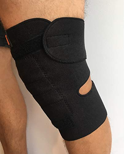 NMT Knee Brace ~ Arthritis, Joint, Pain Relief, Support ~ Natural Physical Therapy ~ New Tourmaline Healing Remedy ~ 2 Adjustable Sizes for Men and Women ~ 1 Black Wrap, SizeRegular-Medium