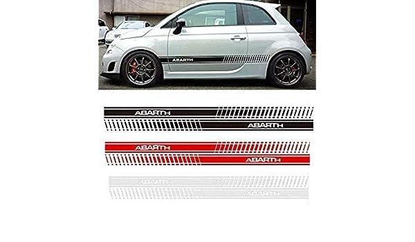 Sellify 2pcs Abarth Car Styling lateral de la falda Etiqueta compite con la raya Bodyfor FIAT 500 Dd9390 - (Nombre del color:, Tamaño: 150x8cm): Amazon.es: ...