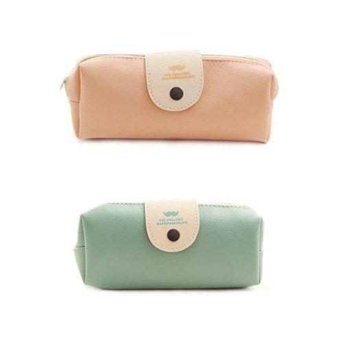 2 Pcs Pencil Case, Big Capacity Pencil Case, Cosmetic Bags Stationery Pencil Bag (Blue & Pink)