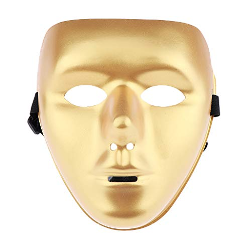 Fityle Halloween White/Gold Face Mask Jabbawockeez Costumes Horror Movie Roleplay Party - Gold, as described -