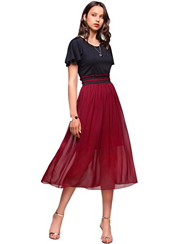 Amoretu Womens Empire Waist Dresses Casual Summer Midi Dress(Claret,M)