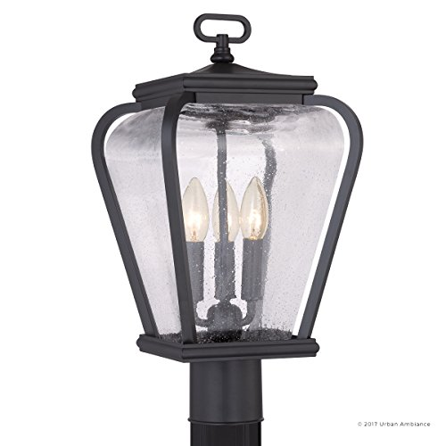 Luxury French Country Outdoor Post Light, Medium Size: 18''H x 9.5''W, with Mediterranean Style Elements, Soft and Simple Design, Inky Black Silk Finish and Seeded Glass, UQL1203 by Urban Ambiance by Urban Ambiance (Image #7)