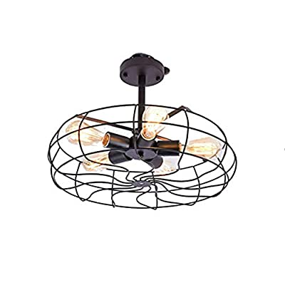 Industrial Vintage Style Close to Ceiling Light in Cage Fan Shape 110V Semi Flush Mount Metal Hanging Fixture For Indoor.