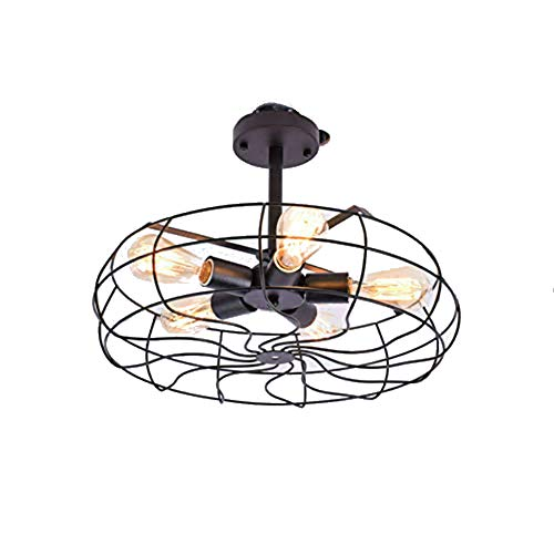 Industrial Vintage Style Close to Ceiling Light in Cage Fan Shape 110V Semi Flush Mount Metal Hanging Fixture For Indoor. ON - Shape Fan