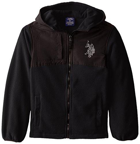 U.S. Polo Association Big Boys' Dewspo Trimmed Polar Fleece Jacket, Black, 8 (Jacket Polo Fleece)