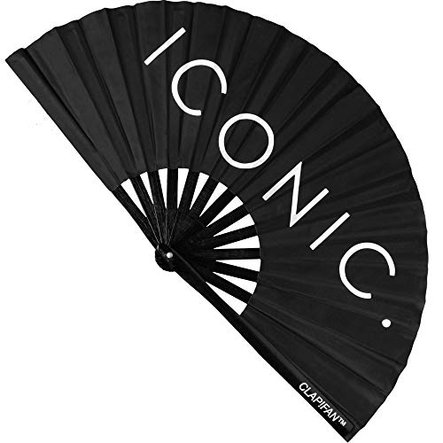 ClapFan Rave Fan, Large Bamboo Loud Clack Folding Hand Fan for Music Festival, Club, Event, Party, Dance, Performance, Iconic, for Men/Women, 13 inch (Black)