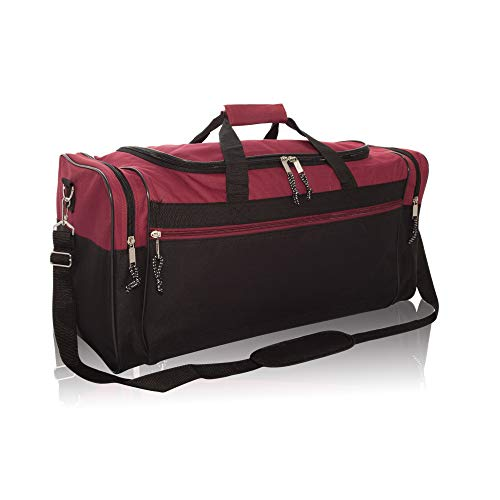 "DALIX 25"" Extra Large Vacation Travel Duffle Bag in Maroon"
