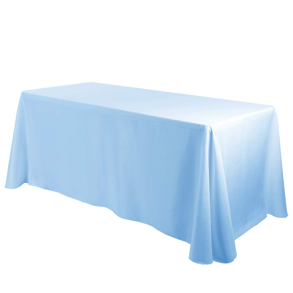 E-TEX Oblong Tablecloth - 90 x 132 Inch Rectangle Table Cloth for 6 Foot Rectangular Table in Washable Polyester,Baby Blue
