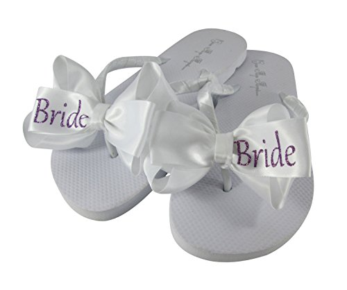 Glitter Bow Flip Flops Wedding