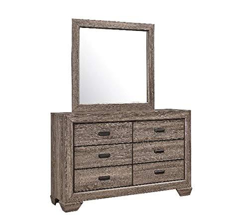 GTU Furniture Large Scale Rustic Wooden Grey 4Pc Queen Bedroom Set(Q/D/M/N)