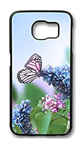 Brian114 Case, S6 Case, Samsung Galaxy S6 Case Cover, Butterfly And Hyacinth Retro Protective Hard PC Back Case for S6 ( Black )