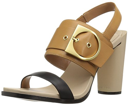 Calvin Klein Women's Aliya Dress Sandal, Black/Almond Tan, 7 M US by Calvin Klein