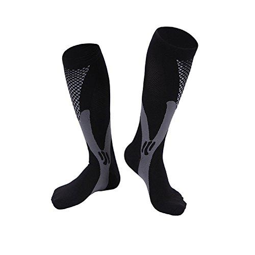 Compression Socks For Men & Women-20-30 mmhg Compression Knee Stockings Support Stretch Magic Football Running Socks (L/XL, Black)