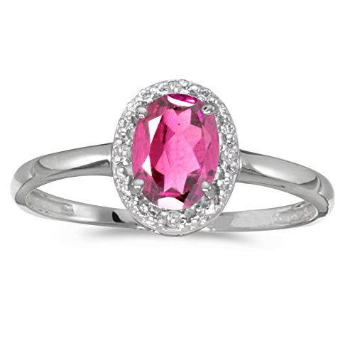Jewels By Lux 14k White Gold Oval Pink Topaz And Diamond Ring Size 7
