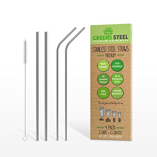 Stainless Steel Straw Set - Reusable Pack of 2 Curved & 2 Wider/Straight Straws - For Smoothies, Coffee & Drinks - Cleaning Brush Included - Eco-Friendly Solution by Greens Steel (4, Medium) (Solution Straight)