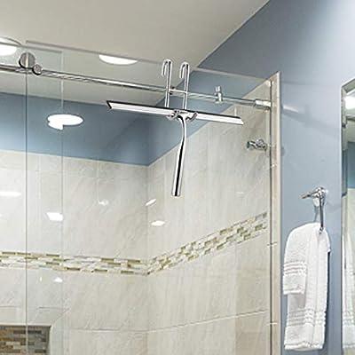 Ecooe Rasqueta limpiador de ducha de acero inoxidable 31cm Raspador ducha sin perforadora Tirador de ventana con suspensión de pared 2 Rasqueta limpiador para espejo de baño Ventana Limpieza: Amazon.es: Hogar