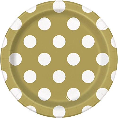 [Gold Polka Dot Paper Cake Plates, 8ct] (Bag Of Trash Costume)