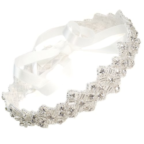 [Mosaic Crystals Rhinestone Beaded Headband with Ribbon Headpiece Hair Accessory for Women] (1920s Beach Costume)
