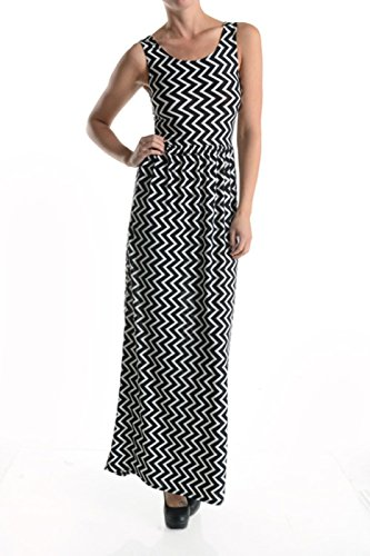 2LUV Women's Sleeveless Multicolored Chevron Print Maxi Dress Black M (H And M Fancy Dress)