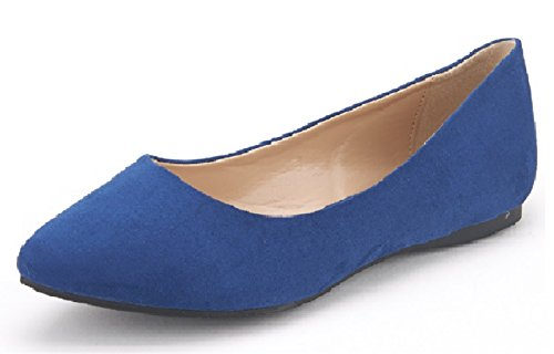 DREAM PAIRS Sole Classic Women's Casual Pointed Toe Ballet Comfort Soft Slip On Flats Shoes Navy Suede Size 5