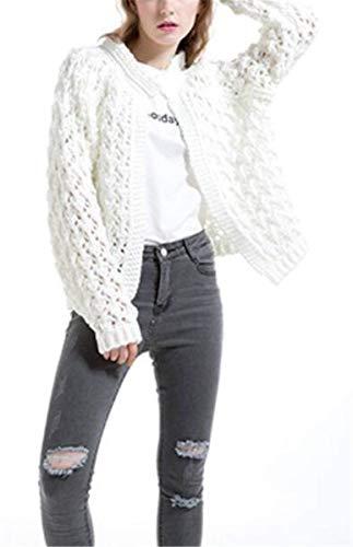 Donna Donna Donna Style Pullover Manica Rotondo Calda Invernali Moda Puro Outerwear Baggy Lunga Casual Bianca Cardigan Autunno Ragazze Giacca Festa Collo Colore rvgFqwrS