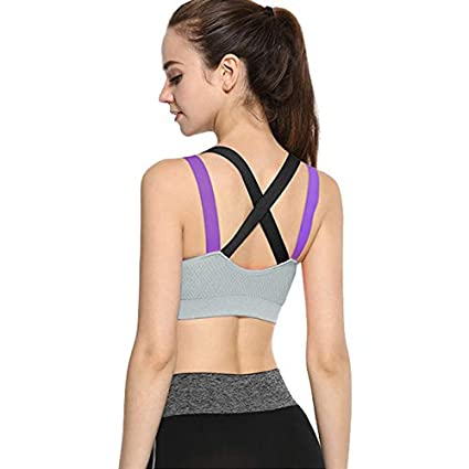 Amazon.com: TreeMart Women Cross Back Push Up Padded Sports ...