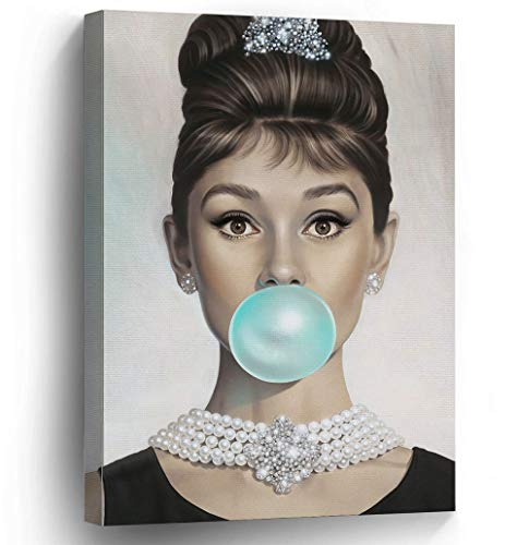 Van Eyck Audrey Hepburn Tiffany Blue Bubble Gum Canvas Poster Wall Art for Guest Bedroom Decor Kitchen Decoration Living Home Decorations(12x16 inch with Inner -