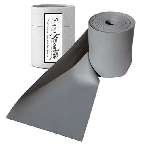 Super Exercise Band Gray XX Heavy Strength Latex Free Resistance Band material in 8 Yard (25 ft.) Bulk Rolls. Home Gym Training For Physical Therapy, Pilates, Stretching, Yoga, and Strength Workouts.