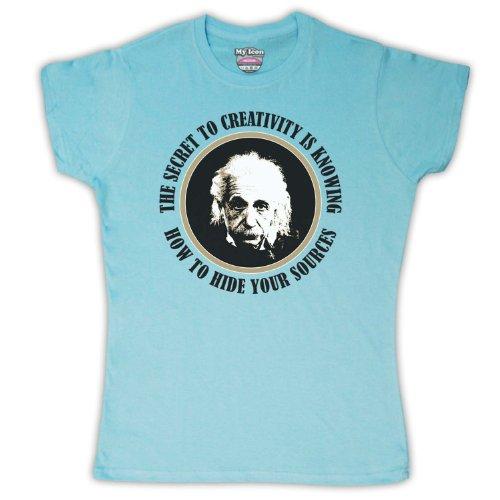 Secret Einstein Albert To shirt Mujer Azul Celeste T Para Creatividad TgqOv5