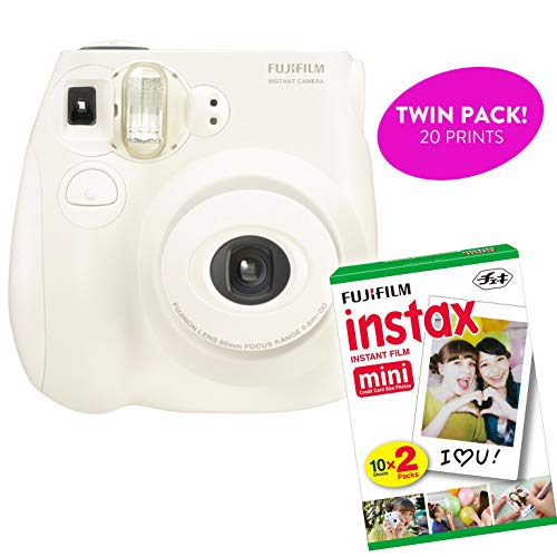 Fujifilm Instax Mini 7S Instant Print Camera (Renewed) Plus Twin Pack of Film Starter Bundle | 10 Sheets x 2 = 20 White Frame Instant Exposure Photograph Sheets (White)