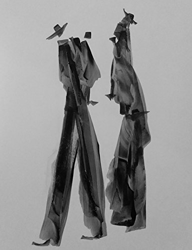 Black and White Abstract Gesture drawing (family) with chines ink on white paper-189 by Red Studio Gallery