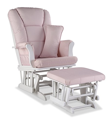Stork Craft Tuscany Custom Glider and Ottoman with Free Lumbar Pillow, White/Pink Blush Swirl by Stork Craft