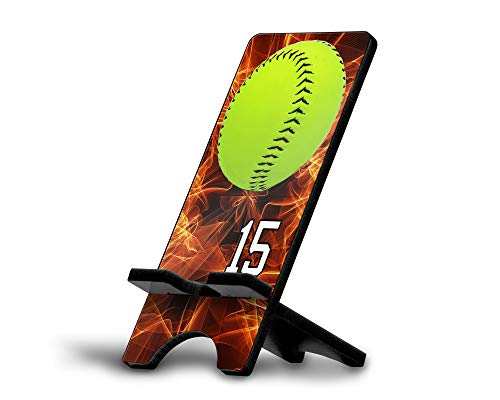 Cell Phone Stand Softball #S010 Personalized Player Jersey Number On A Universal Docking Charging Station Stand Customized by TYD Designs Number 15 ()
