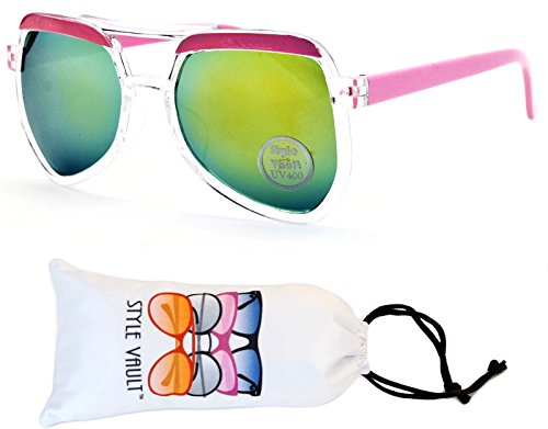 Kd44-vp infant baby toddler Kids Childrens (9month~3year old) Aviator Sunglasses (T2436H Clear/Pink-Lime Mirror, - Sunglasses 6 Old For Month
