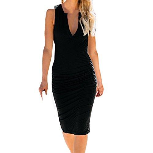 Opeer Bodycon Womens V-Neck Solid Color Bodysuit Sleeveless Mini Fashion Sexy Dress (XL, ()